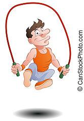 jumping rope skipping - illustration of a man doing jumping...