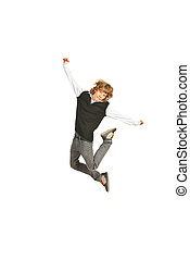 Jumping schoolboy raising his hands isolated on white...