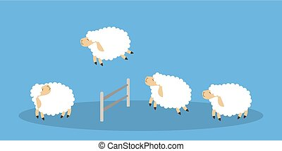 Jumping sheep on blue.