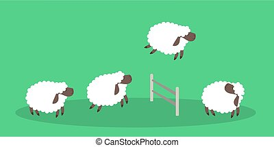 Jumping sheep on green.
