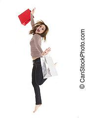jumping shopper woman