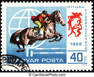 Jumping show on post stamp