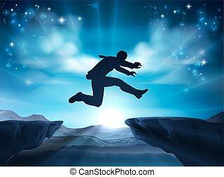 Jumping Silhouette Businessman