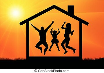 jumping silhouette family house vector