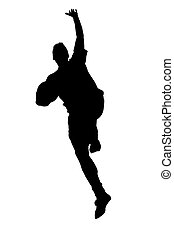 Jumping silhouette - silhouette of jumping man