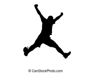 Jumping silhouette - Black silhouette of a jumping man over...