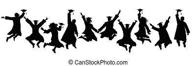 Jumping silhouettes of graduates in square academic caps and mantles, icons. Vector illustration
