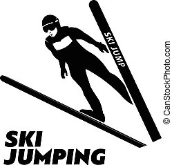 Jumping skier silhouette. Vector illustration.