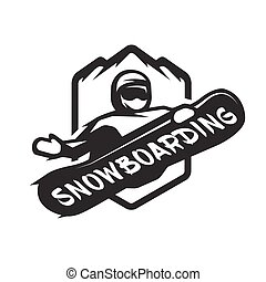 Jumping snowboarder monochrome logo.