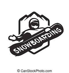 Jumping snowboarder monochrome logo.