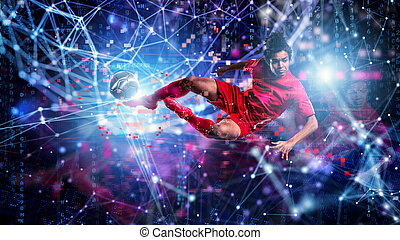 Jumping soccer player kick a ball. Internet background. Concept of bet online