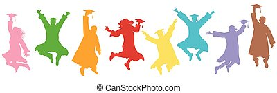 Jumping students graduates in mantles and square caps on graduation. Colorful silhouettes, vector illustration.