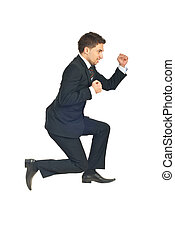Jumping successful business man