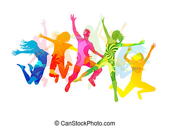 Jumping Summer People. Healthly young people vector...