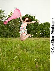 Jumping teen girl