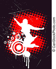 vector illustration of a teenager silhouette on an abstract vintage background
