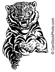 jumping tiger black and white