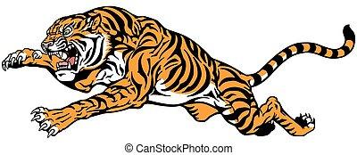 jumping tiger tattoo - Tiger jump. Angry big cat. Tattoo...