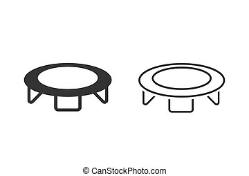 Jumping trampoline line icon set isolated on white background. Vector
