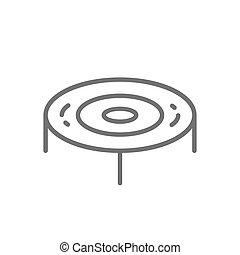 Jumping trampoline, playground line icon.
