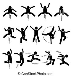 Jumping Up Postures - Various Jumper Human Man People...