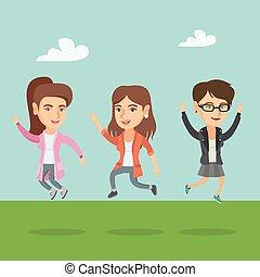 jumping., vidám, csoport, kaukázusi, emberek
