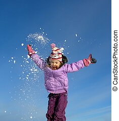 jumping winter girl