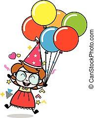 Jumping with Balloons - Teenager Cartoon Intelligent Girl Vector Illustration