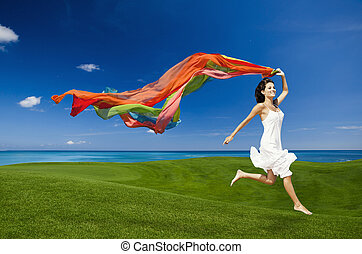 jumping with colored tissues
