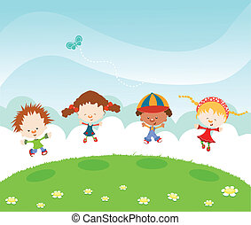 Jumping with Joy - Cute Kids Celebrating Spring