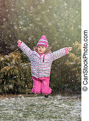 Jumping with joy in winter