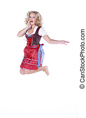 jumping woman in dirndl