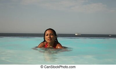 Jumping Woman in Pool