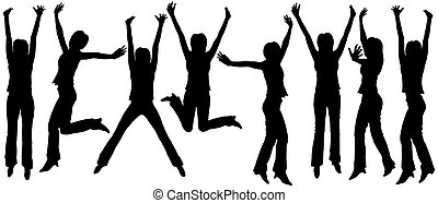 Jumping woman outlines - Set of silhouettes of jumping women