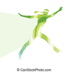 Jumping woman silhouette illustration vector background...