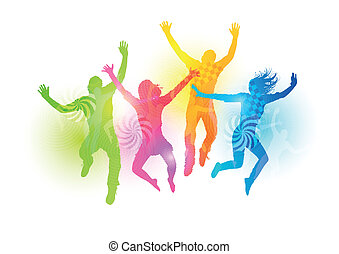 Colourful Jumping People. Healthly young people vector illustration