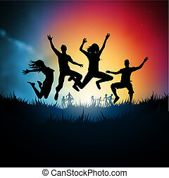 Friends jumping together. Vector illustration.