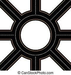 junção, asfalto, vetorial, vazio, rotunda, estrada