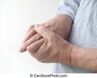 junções, dor, dedo