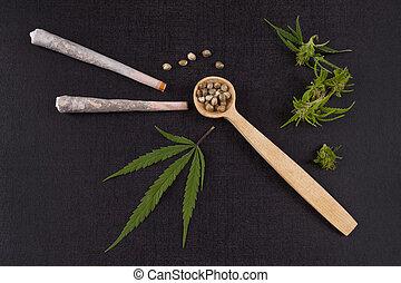 junções, sementes, marijuana
