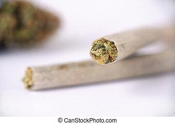 junções, sobre, isolado, cannabis, fundo, branca