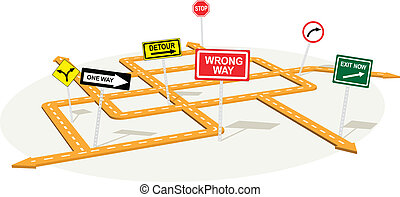 Junction - 3D road junction with warning traffic signs,...