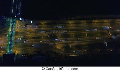 junction., aérien, autoroute, vue