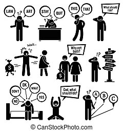 Human pictogram stick figures showing a man having a hard time deciding on what to choose and do because these decisions are his junction of life.