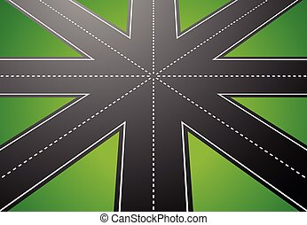 Junction, road from above with perspective. vector