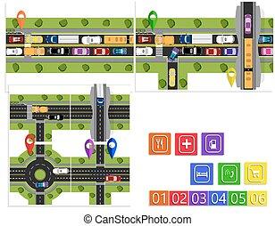 junctions., movement., θέτω , infographic., ουσιώδης , εικόνα , κίνηση , bridges., εγκύκλιος , δύσκολος , αφαιρώ , δρόμοs , design.