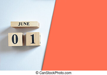 June 1, Empty white - Red background.