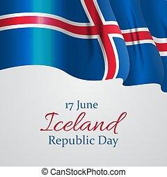 June 17 Iceland Republic Day Background. Vector Illustration
