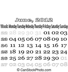June 2012 monthly calendar