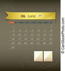 June 2013 calendar ribbon design